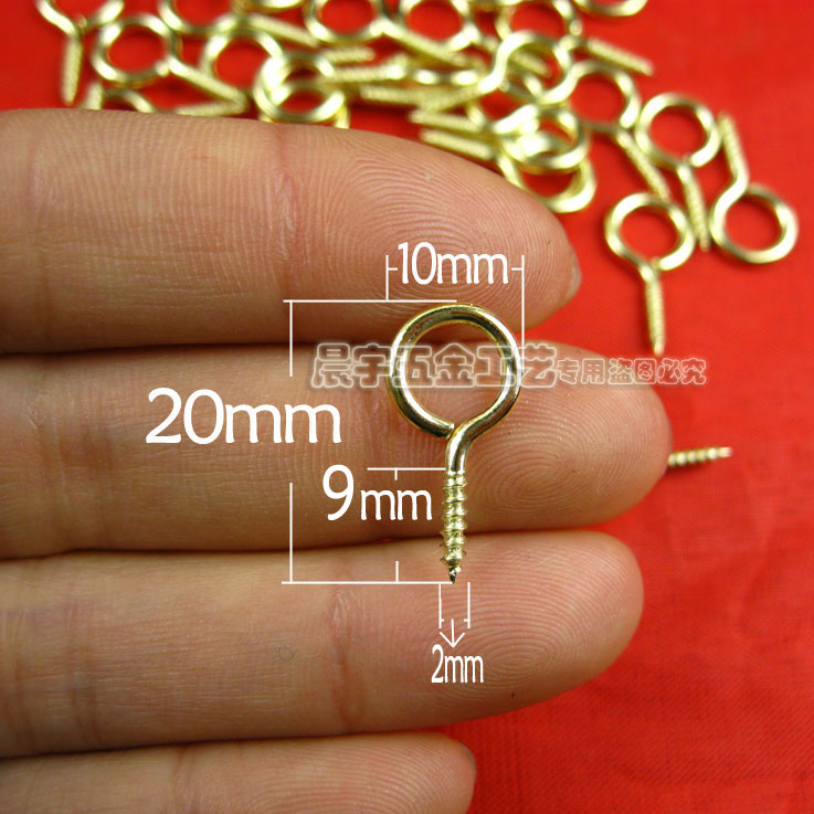 1000pcs 20MM Golden Sheep Eye Screws Self-tapping Sheep  Eye Hook With Sub  Nail DIY Handmade Accessories   Wholesale