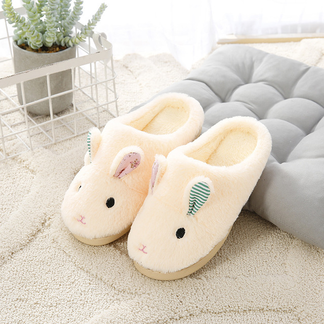 44e93703b96 Bunny Rabbit Ears Slippers Baby Children Fur Slippers Kids Winter Warm Flip  Flops Child Animal Cotton Home Shoes Girls 32-40