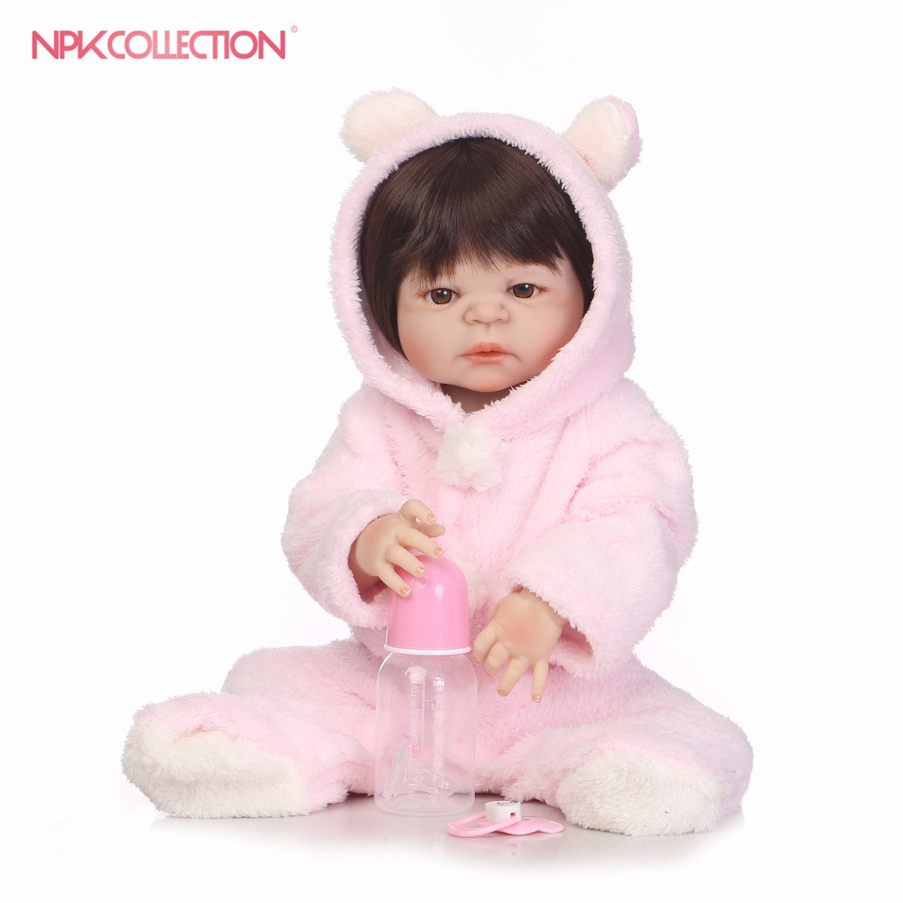 NPKCOLLECTION full silicone vinyl reborn dolls 22inch 58cm Newborn Babies Doll Realistic Lifelike baby with Pink plush clothes pink wool coat doll clothes with belt for 18 american girl doll