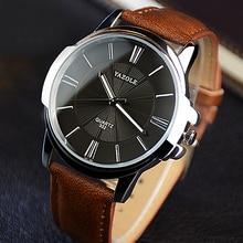 YAZOLE Top Brand Men Watch Luxury Leather Watchband Large Di
