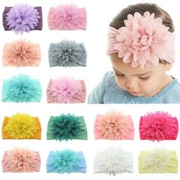 Yundfly 10pcs Fashion Baby Cotton Flower Headband Elastic Wide Nylon Floral Headwear Girls Hairband Hair Accessories