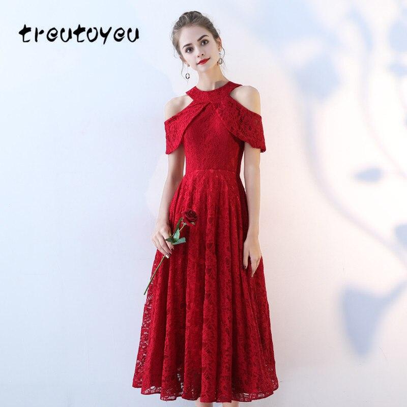 Treutoyeu bretelles dentelle robes o-cou été mode noir vin rouge Sexy fête solide Banquet robe pour les femmes Vestido D004