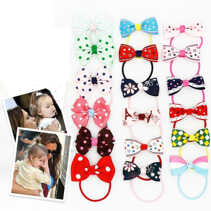 10 Pieces/lot Baby toddler girl Princess bow rubber rope tail rope hair accessories girls headwear elastic hair band bebes fille 1pack small ring hair bands girls colorful elastic hair rope tie gums kids rubber band ponytail holder hair accessories headwear