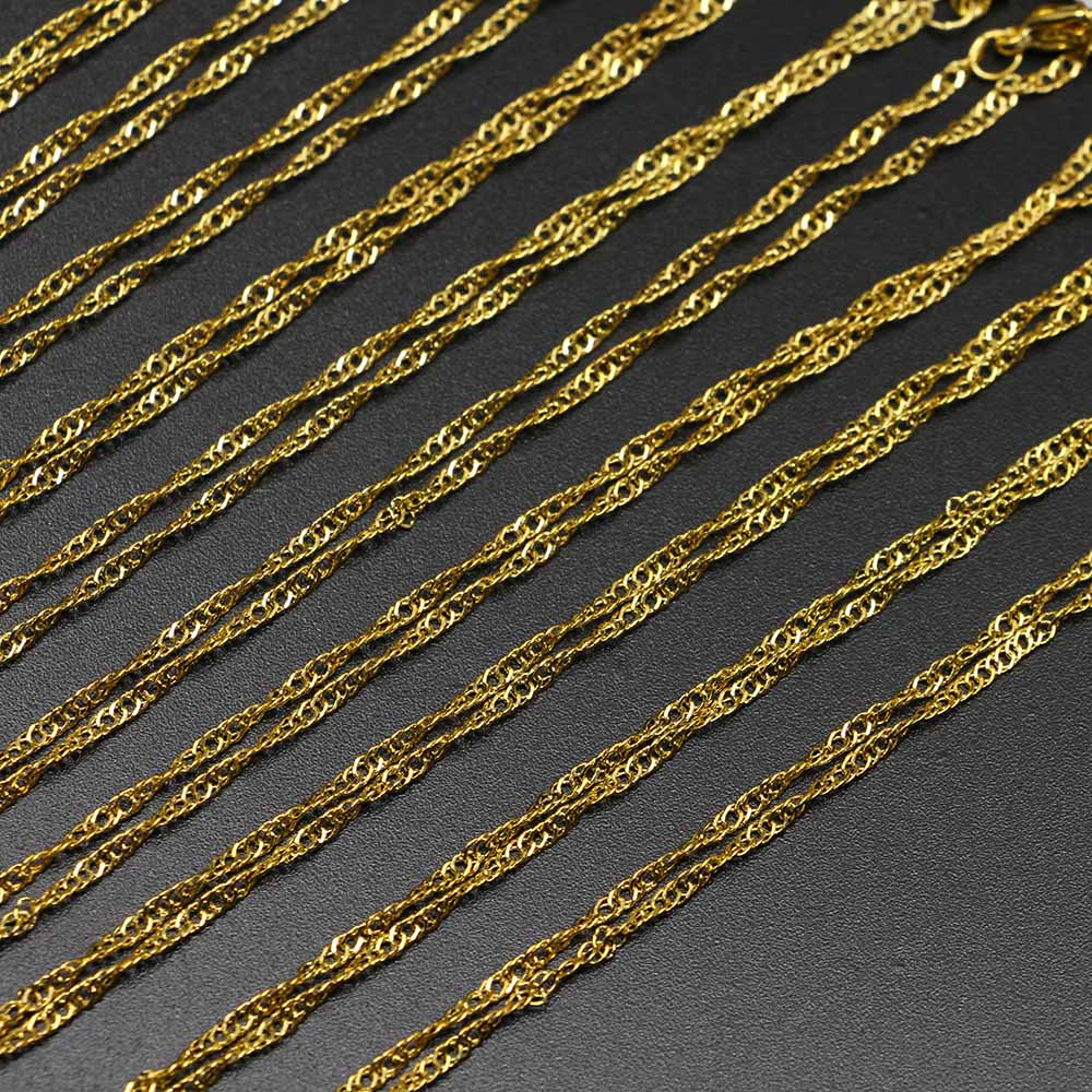 Silver Gold White K Lobster Clasp 12Pcs/Pack 42cm Necklace Water Wave Chains Charm Bulk For DIY Jewelry Accessories Wholesale