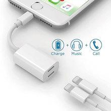 Для освещения до 3.5mm Aux кабель конвертер 2 в 1 3.5 мм двойной молнии зарядки аудио адаптер для iPhone 7 plu S 6S 6 iOS 10