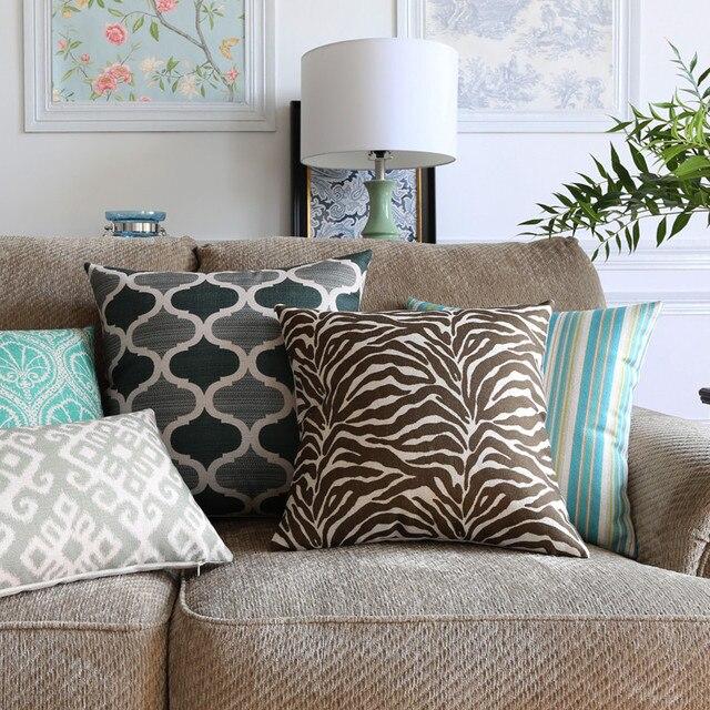 Decorativo caso cuscino di tiro copertura del cuscino di colore marrone geometri