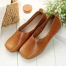 Top Quality Vintage Style Leather Shoes Women 2016 Fashion Soft Casual Leather Shoes Flat Full Grain Leather Boat Shoes 729