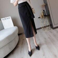 Black Sexy Plus Size Slit Long Pencil Skirts Korean Style Women Vintage High Waist Chiffon Lace-up Bodycon Skirt Clothes 2019 double slit lace up mini skirt