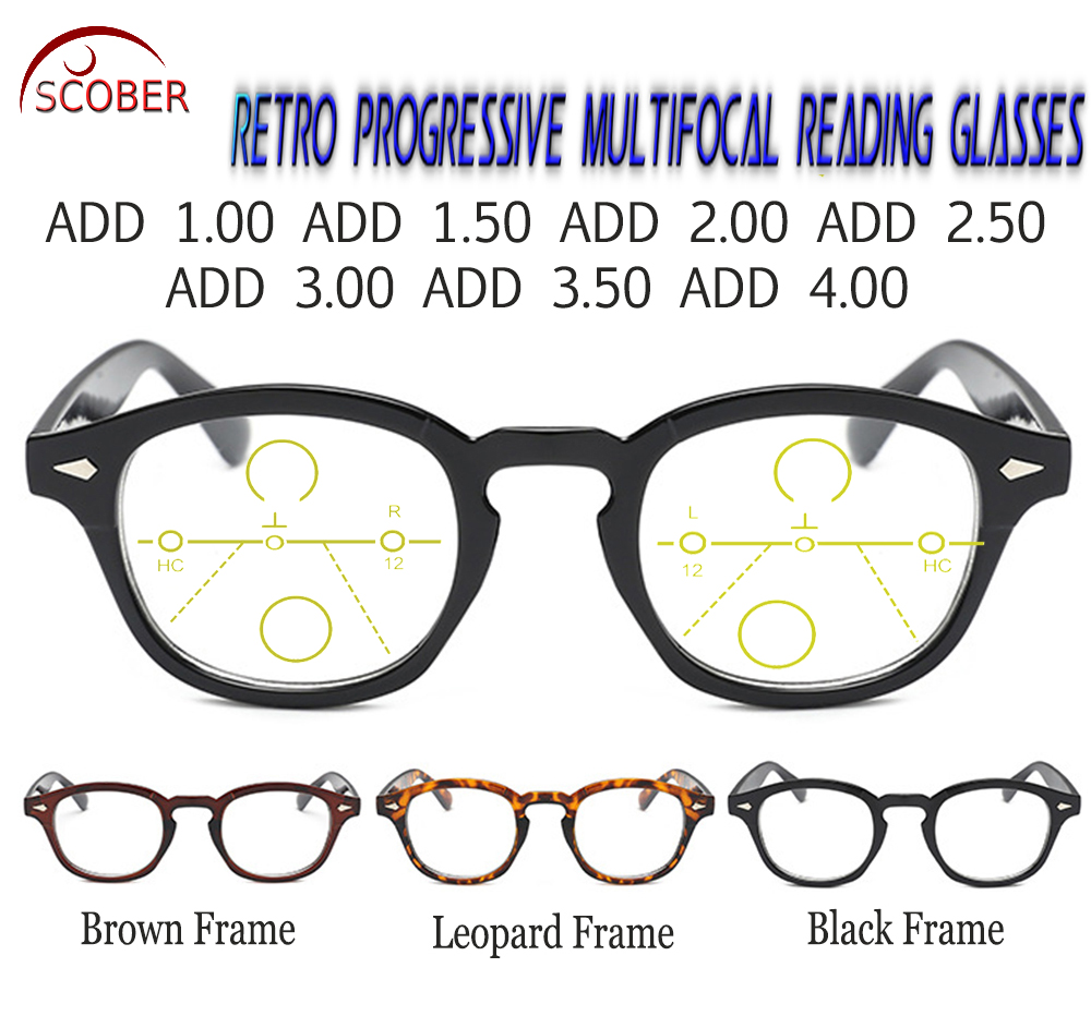SCOBER = Progressive Multifocal Reading Glasses Classic Retro Vintage Black/Brown Eye frame See Near And Far TOP 0 ADD +1 To +4 image