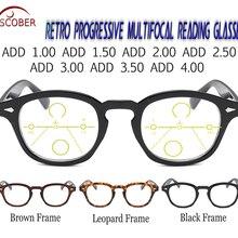 SCOBER = Progressive Multifocal Reading Glasses Classic Retro Vintage Black/Brow