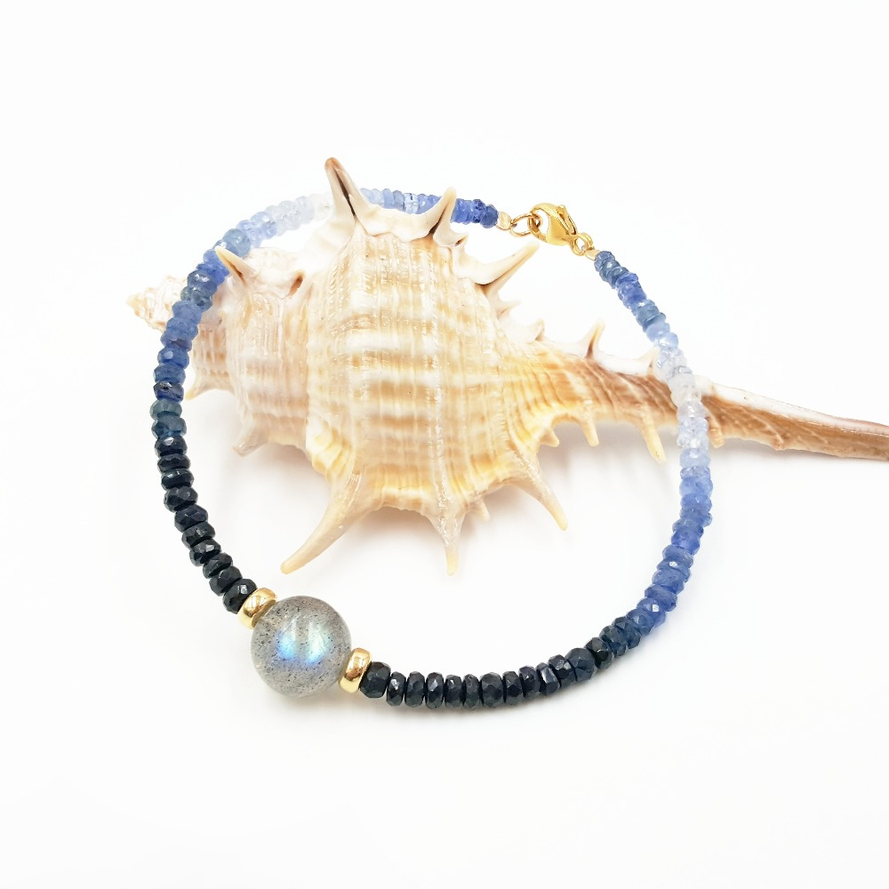 LiiJi Unique Natural Stone Shining Sapphires Labradorite Gold Fill Fashion Bracelet Nice Gift for Women