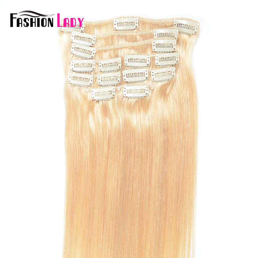 Fashion Lady Pre-Colored Brazilian Clip In Human Hair Extensions Straight Full Head 9pcs Per Set With 17pcs Clips Non-Remy