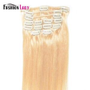 Модные женские предварительно окрашенные бразильские волосы на заколках для наращивания, прямые волосы на всю голову, 9 шт. в наборе, с 17 кли...