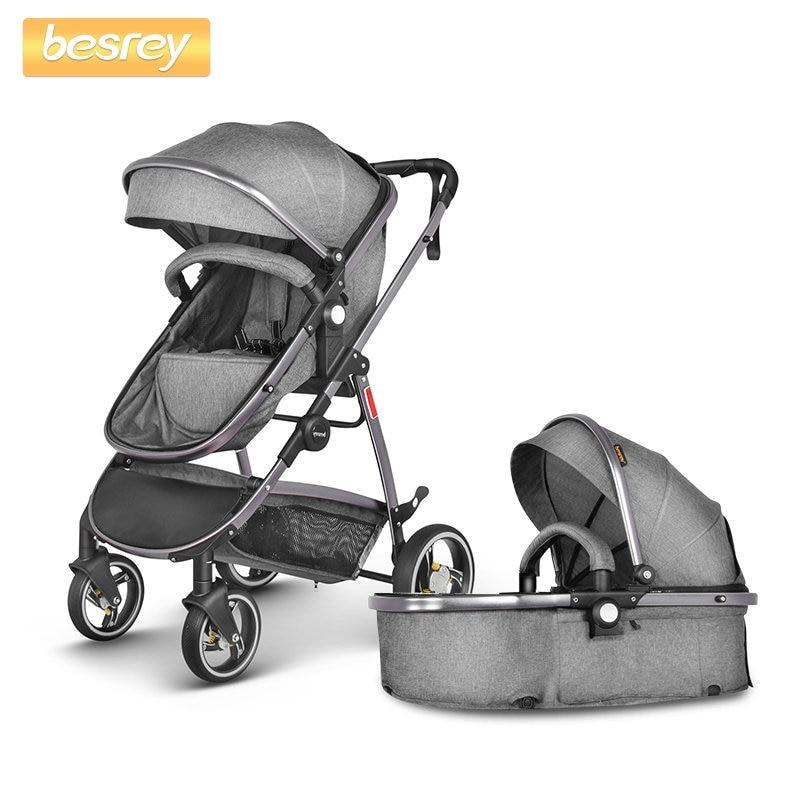 Besrey bébé poussette 2 en 1 de luxe pour nouveau-né bébé pliant poussette bambin chariot infantile Buggy haut paysage landau poussette