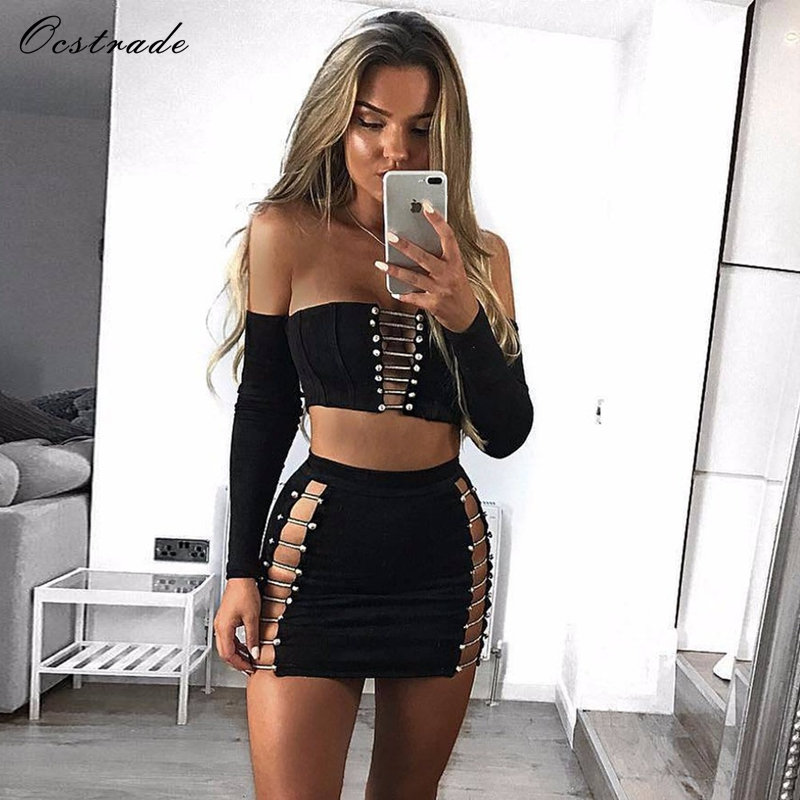 Ocstrade Fall 2017 Fashion Sexy Two Piece Set Womens Black Metal Embellished Outfits Two Piece Bandage Dress Long Sleeve