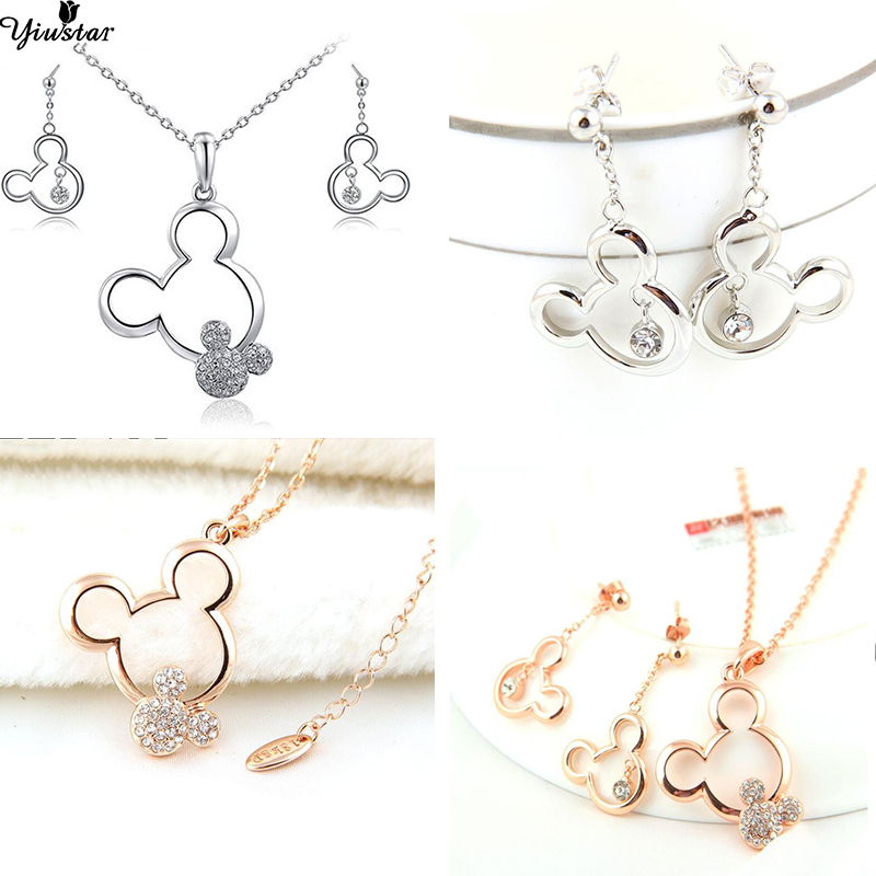 Yiustar Fashion Cartoon Mickey Jewelry Mickey Earrings for Kids Girls Charm Tiny Mouse Mickey Pendant Necklaces for Women Gifts