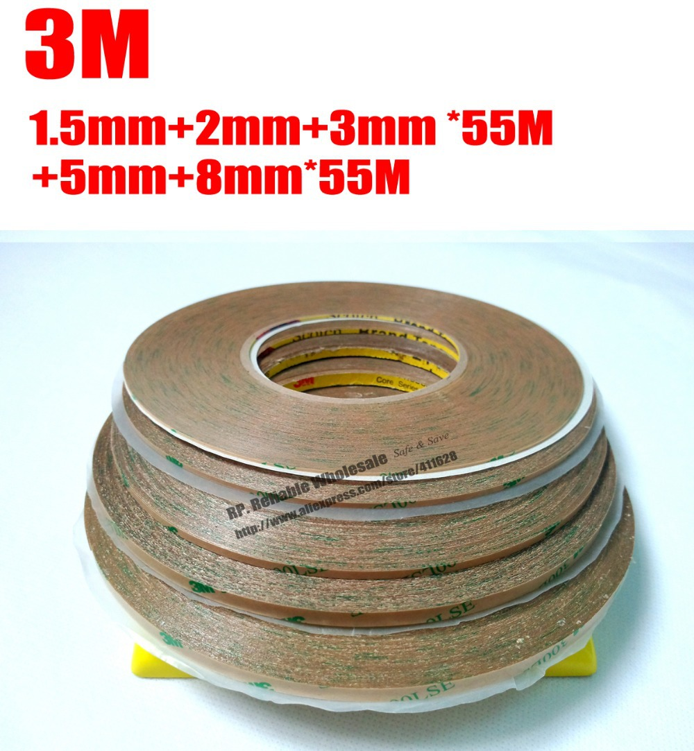 Mix 5 Rolls (1.5mm/2mm/3mm/5mm/8mm) *55M Waterproof Strong Adhesion Sticky 3M9495LE Tape for ipad Samsung HTC Tablet Display strong 1 2 1 5 1 8