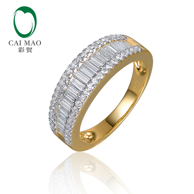 CaiMao Half Eternity 1.1ctw Natural Round Baguette Diamond 14kt Yellow Gold Engagement Wedding Band Unisex