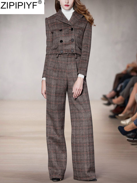 New Fashion plaid pants suit women temperament streetwear turn down collar long sleeve blazer and full-length pant suits C3272
