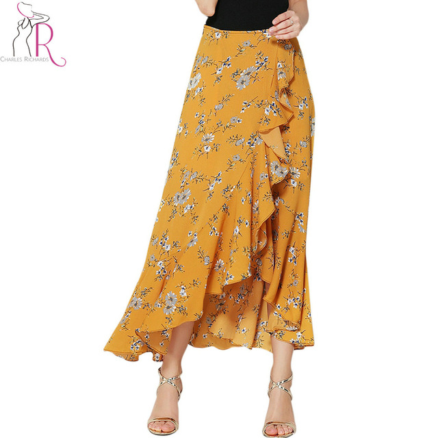 004bd408a Women Yellow Floral Print Ruffle Asymmetric Wrap Maxi Skirt 2017 Dipped  High Low Hem High Waist Fashion Summer Longline Bottom