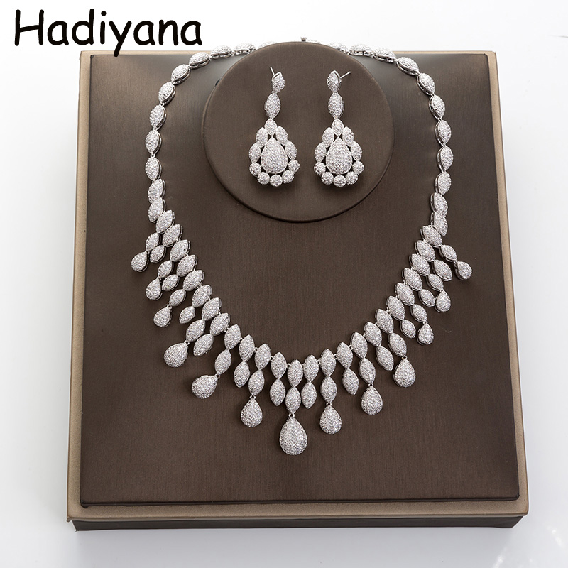 Hadiyana Fashion Bridal Jewelry Big Waterdrop Necklace Set With Earring 2018 Wedding 2pc Jewelry Parure Bijoux Femme Set TZ5002 emmaya luxury freshwater pearl bridal jewelry sets silver color earring necklace set wedding jewelry parure bijoux femme