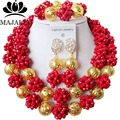 2017 Fashion Nigeria Wedding african beads jewelry set red Crystal necklace Bridal Jewelry set Free shipping SS-027