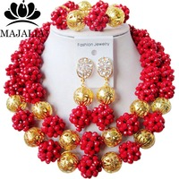 2017 Fashion Nigeria Wedding african beads jewelry set red Crystal necklace Bridal Jewelry set Free shipping SS 027