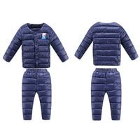 Children S Winter Set Girls Down Outwear Baby Boy Clothes Children Warm Suits 2PCs Jacket Pants