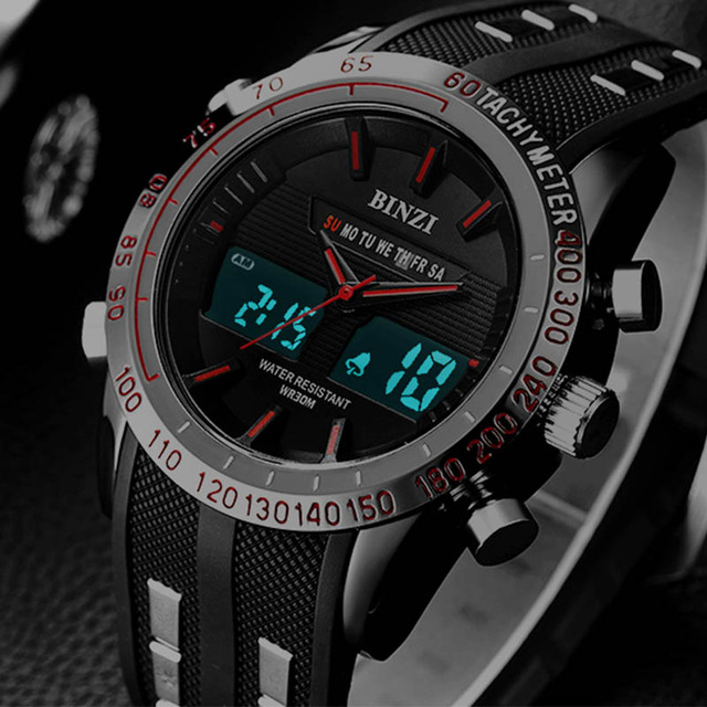 New BINZI Brand Watch Mens Date Day LED Display Luxury Sport Watches Digital Military Men's Quartz Wrist watch Relogio Masculino