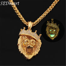 Glow In The Dark Crown Lion Tiger Pendant Necklace Gold Chain Rock Hip Hop Animal Statement Necklaces For Women Men Jewelry(China)