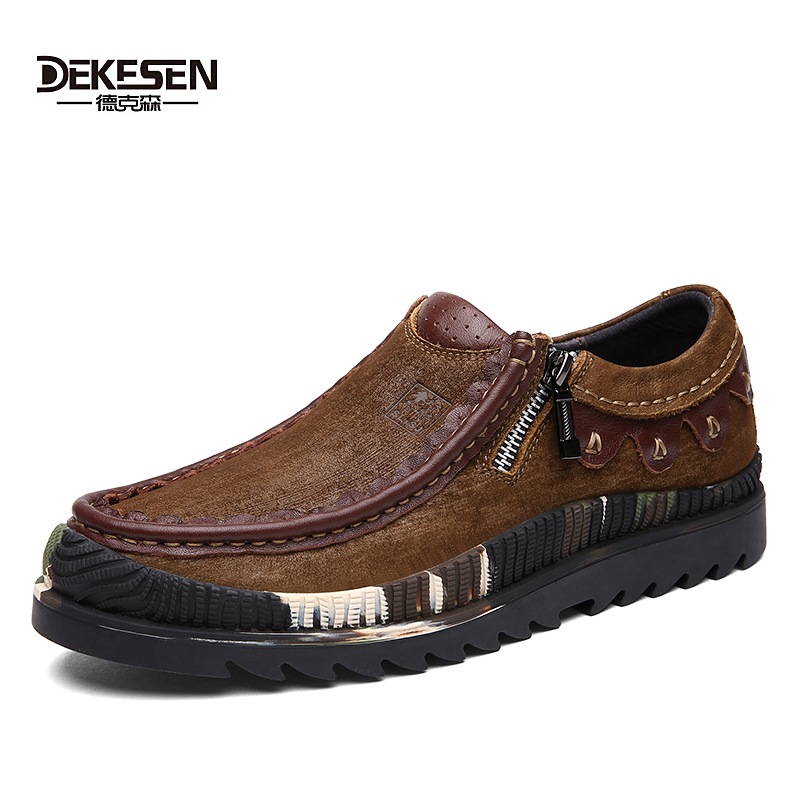 DEKESEN 2017 New Fashion Men's Casual Shoes, Genuine Leather Loafers, Vintage Zip Shoes for Mens Flats shoes, Footwear Male dekesen brand vintage classic 100