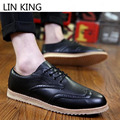 LIN KING Retro Spring Lace Up Oxfords Shoes Comfortable Men Leather Brogue Shoes Casual Low Top Office Dress Business Shoes