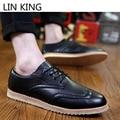 LIN REI Primavera Retro Rendas Até Sapatos Oxfords Brogue Couro Dos Homens Confortáveis Sapatos Casuais Baixo Top Sapatos de Escritório de Negócios Vestido