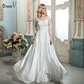 Dressv pescoço da colher Uma longa Linha de casamento branco do vintage vestido de mangas compridas apliques trem da varredura vestido de casamento ao ar livre vestido de noiva
