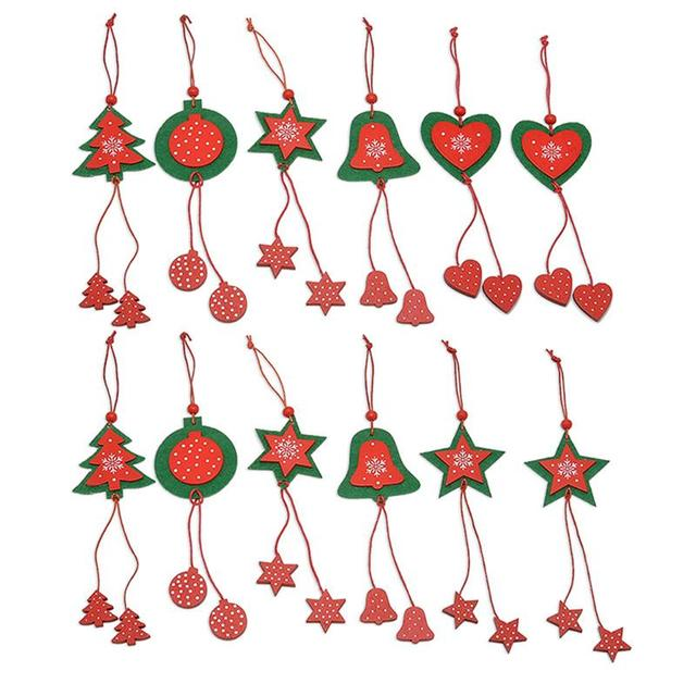 12pcs handmade fabric star love heart jingle bell christmas hanging door ornaments hanging decoration pendants for - Christmas Hanging Decorations