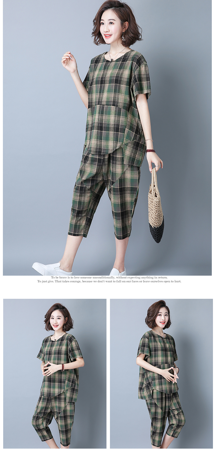 2019 Summer Plaid Cotton Linen Two Piece Sets Outfits Women Plus Size Short Sleeve Tops And Cropped Pants Casual Suits Red Green 50