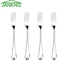 JANKNG 4 Pcs/Lot Stainless Steel Dinner Fork Flatware Set Kitchen Cake Fork for Dinner Salad Dessert  Fruit Fork Dinnerware Set