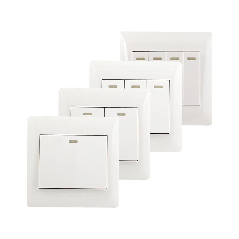 1/2/3/4 Gang 2 Way Push Button Switch Panel Wall Interruptor White PC Frame Panel Light Switch On/Off Wall Switch Controller