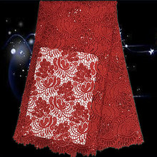 Item No.SQG53,hot sale latest design guipure embroidery lace fabric,guipure cord lace fabric with sequins free shipping