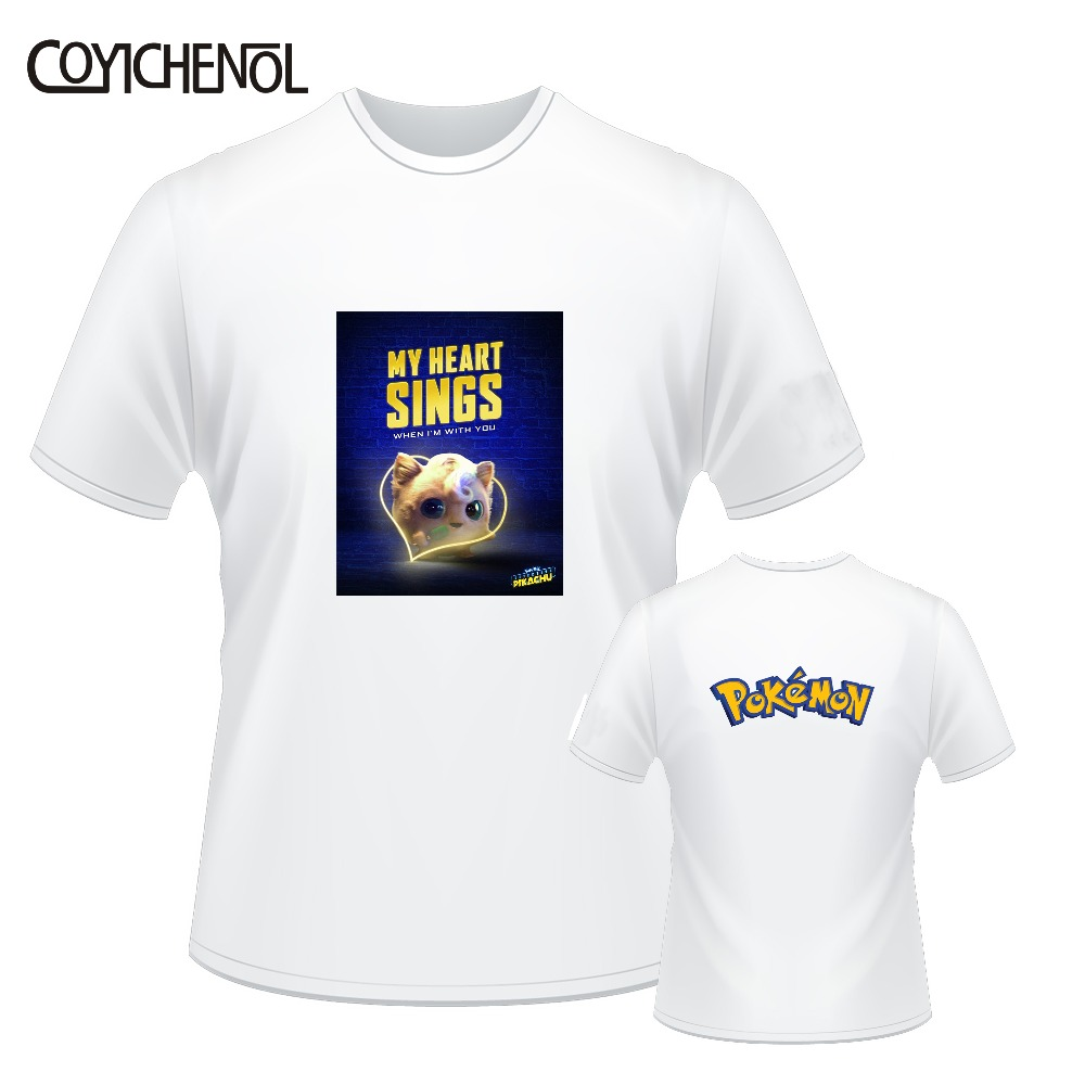 Detective Pikachu customize print tshirt men casual short sleeves tops large size solid color top oversized regular tee in T Shirts from Men 39 s Clothing