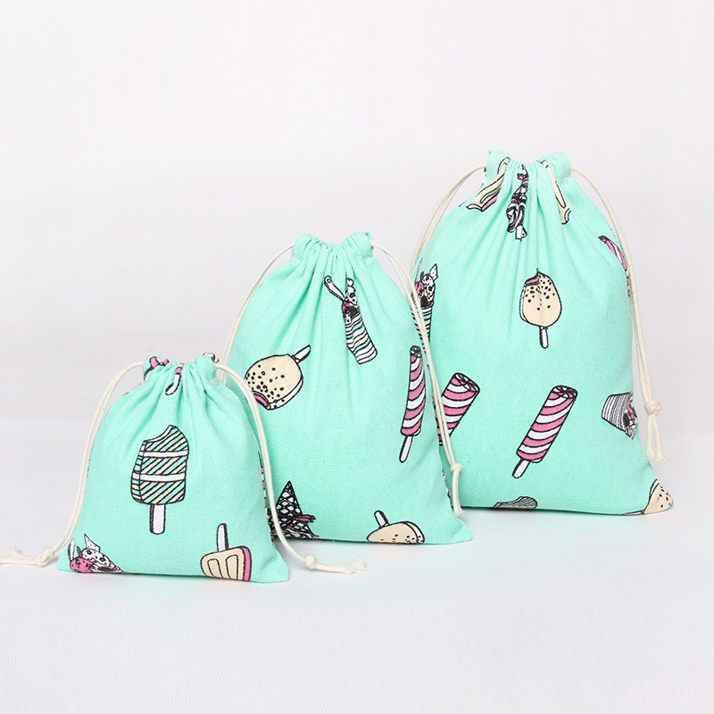 Make Up Tools Cloth Bag Cotton Linen Drawstring Cartoon Print Sky Blue Color Candy Bags For Sundries Free Shipping