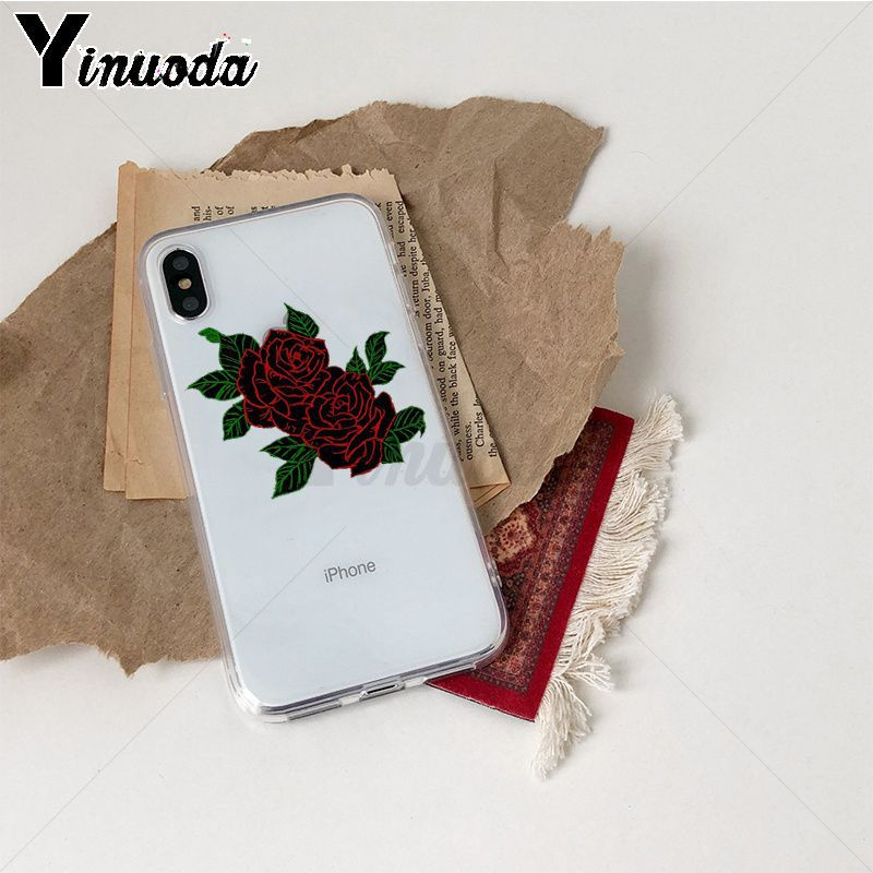 Image 2 - Yinuoda Rose flowers Colorful Phone Accessories Case for iPhone Xr XsMax 8 7 6 6S Plus Xs X 5 5S SE 5C Cases-in Half-wrapped Cases from Cellphones & Telecommunications