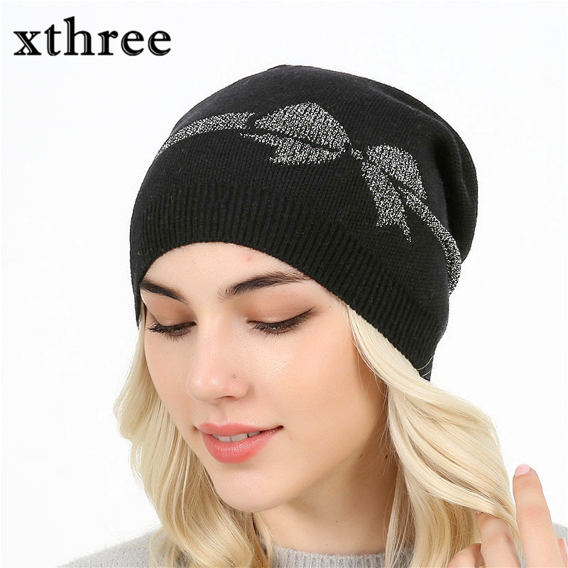 xthree female skullies beanies Fall Winter Hat For Women Wool Cap Knit Cord Bow Girl Brand New 2017 skullies