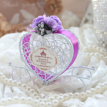 30 pcs/lot 7*7*10 cm White iron carriage wedding candy box with ribbon