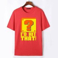 Flevans Summer 100 Cotton Men T Shirts Super Mario Bros I D HIT THAT Funny Printed