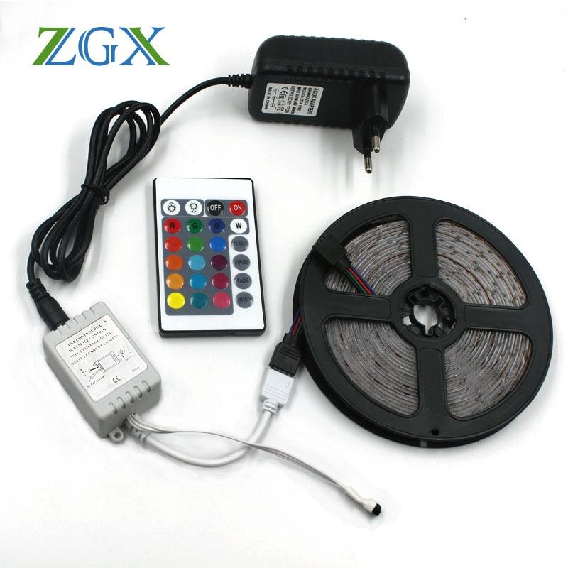 ZGX RGB 2835 3528 5M 10M LED Strip light neon Decor indoor Flexible tape ribbon lamp Waterproof 24K controller DC 12V set kit