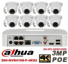 Dahua original 8CH 3MP H2.64 DH-IPC-HDW1320S 8pcs Network camera POE DAHUA DHI-NVR4108-P-4KS2 Dome IP CCTV security camera kit