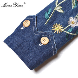 Image 5 - MoaaYina מסלול מעצב אופנה באיכות גבוהה קאובוי מעיל רוח ארוך שרוול רקמת Sashes מקרית בציר קאובוי מעיל