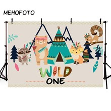 MEHOFOTO Wild One Birthday Backdrop Ztec Tribal Teepee Animals Fox squirrel Bear Raccoon Children Photographic Backgrounds