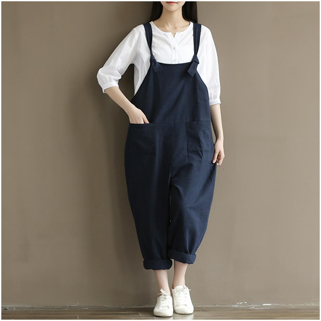 Women Casual Spaghetti Strap Loose With Ankle Length Pockets Solid Bib Coffee, Black, Blue Pants Summer(China)